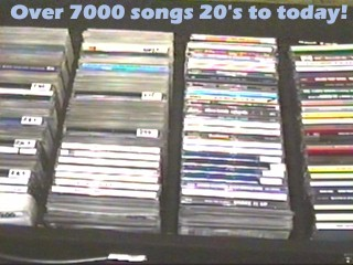 Photo of part of a huge rack of CD's to every show