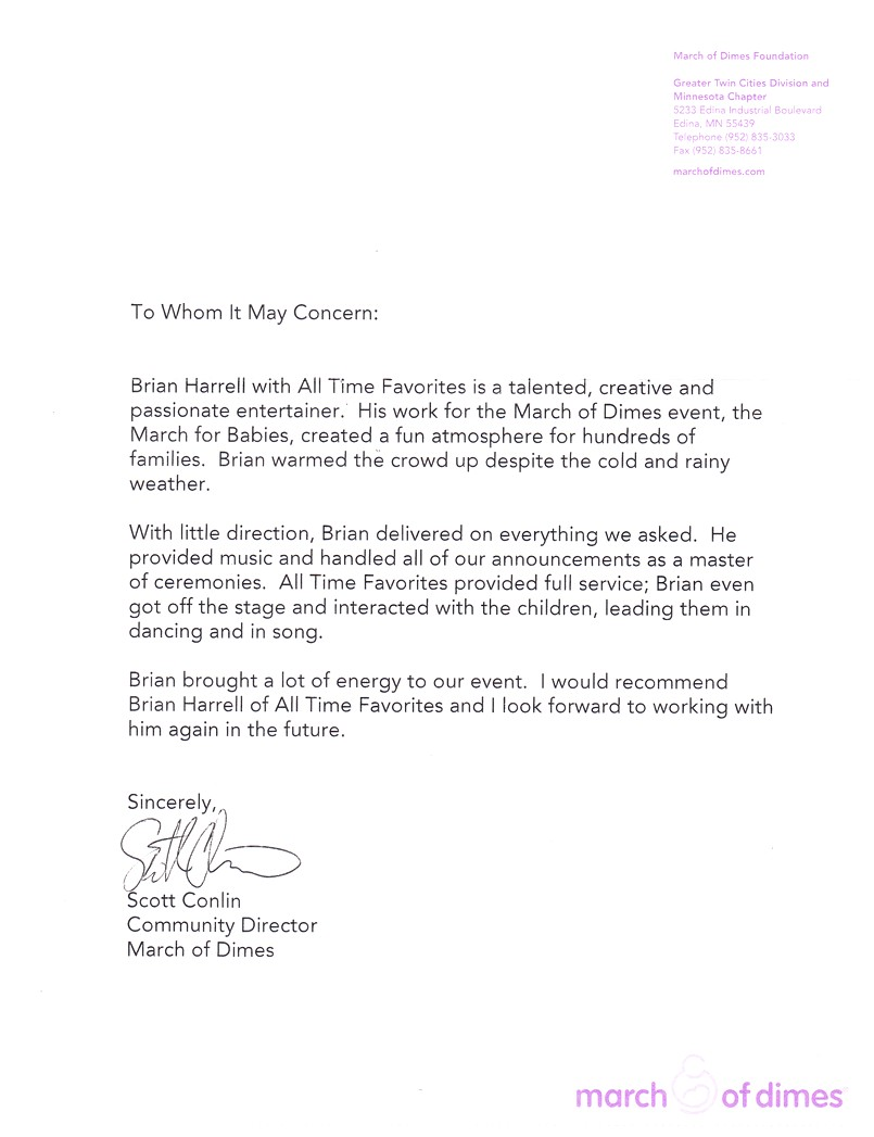 march of dimes letter from may 2009 dj